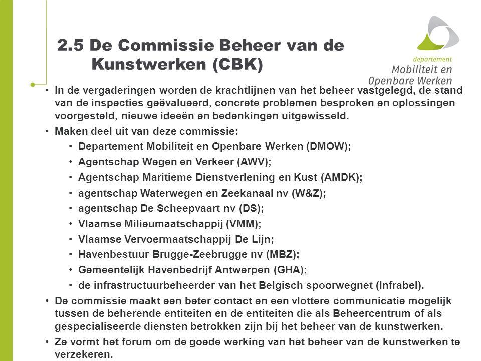 2.5 De Commissie Beheer van de Kunstwerken (CBK) In de vergaderingen worden de krachtlijnen van het beheer vastgelegd, de stand van de inspecties geëv