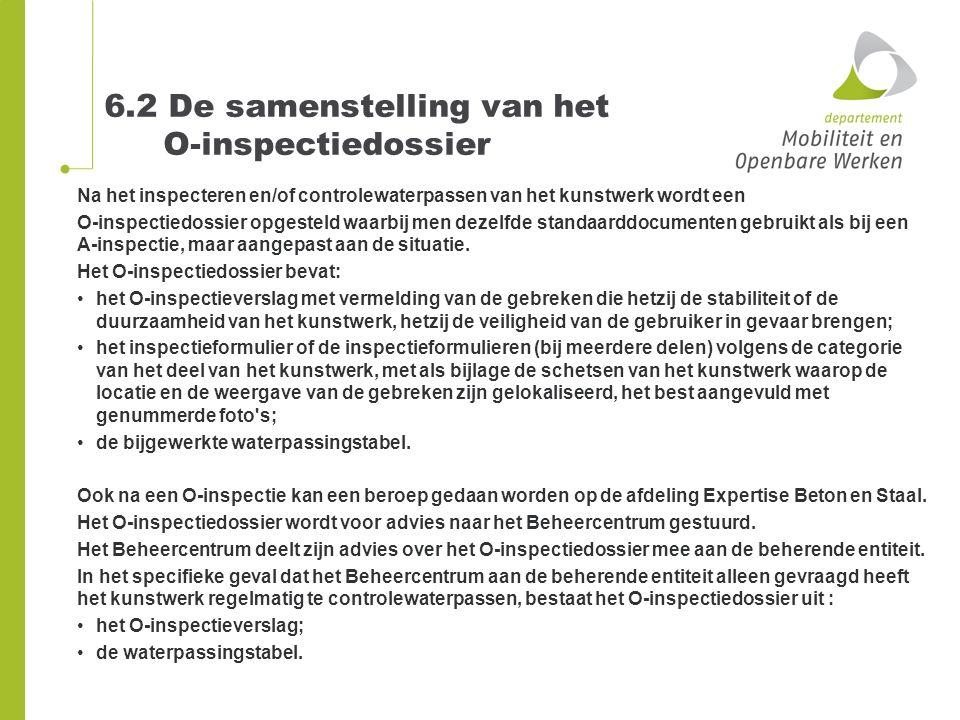 6.2 De samenstelling van het O-inspectiedossier Na het inspecteren en/of controlewaterpassen van het kunstwerk wordt een O-inspectiedossier opgesteld