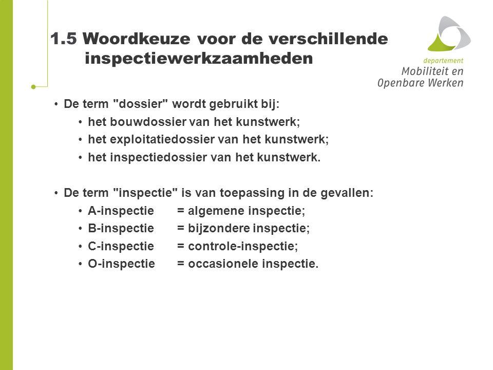 1.5 Woordkeuze voor de verschillende inspectiewerkzaamheden De term