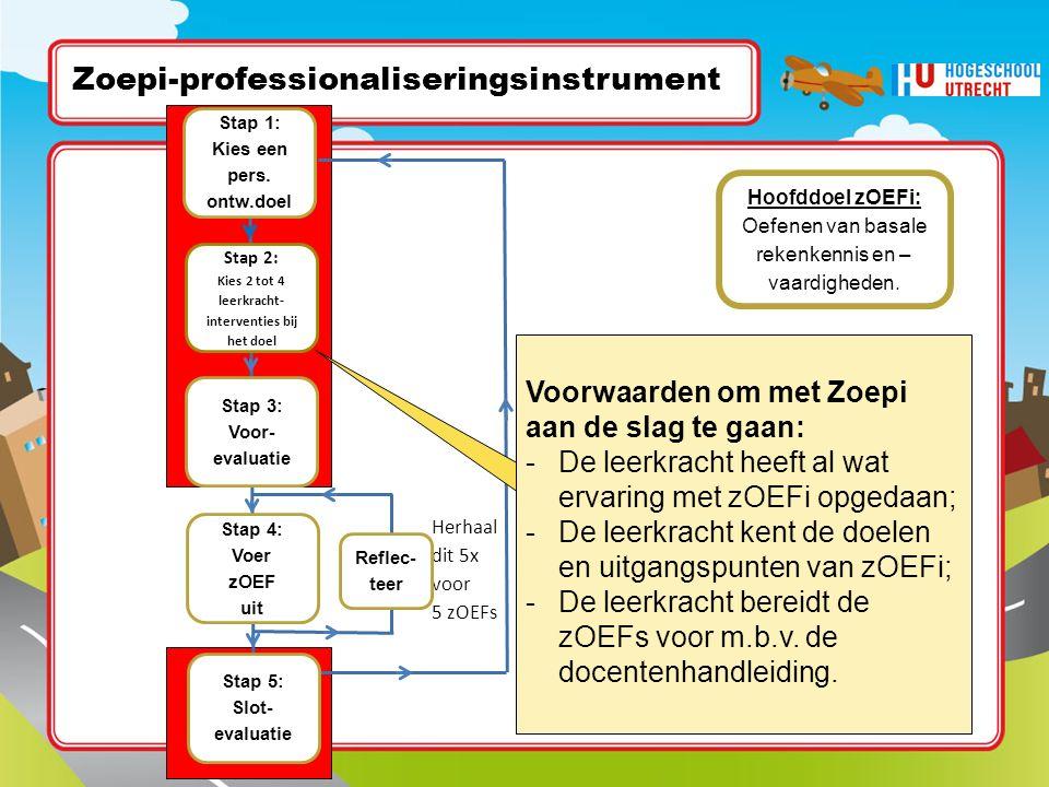 Herhaal dit 5x voor 5 zOEFs Doe een nieuwe Zoepi-cyclus al dan niet met een nieuw ontwikk.