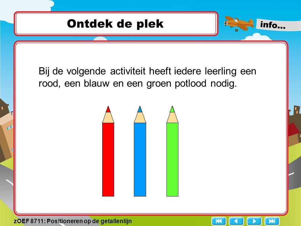 zOEF 8711: Positioneren op de getallenlijn Ontdek de plek Bij de volgende activiteit heeft iedere leerling een rood, een blauw en een groen potlood nodig.