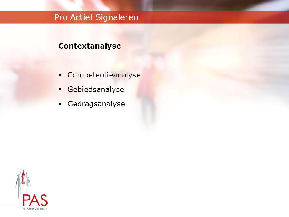 Pro Actief Signaleren Contextanalyse  Competentieanalyse  Gebiedsanalyse  Gedragsanalyse