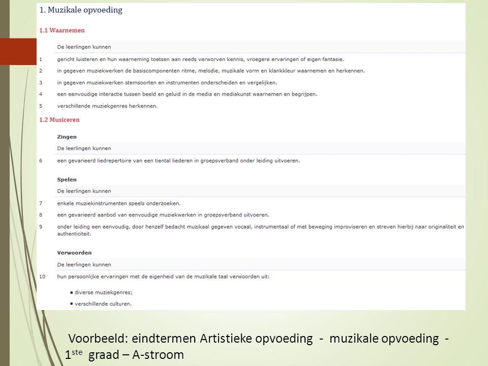 Voorbeeld: eindtermen Artistieke opvoeding - muzikale opvoeding - 1 ste graad – A-stroom