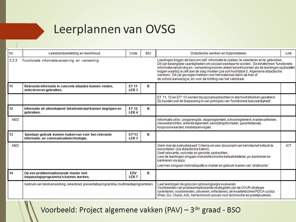 Leerplannen van OVSG Voorbeeld: Project algemene vakken (PAV) – 3 de graad - BSO