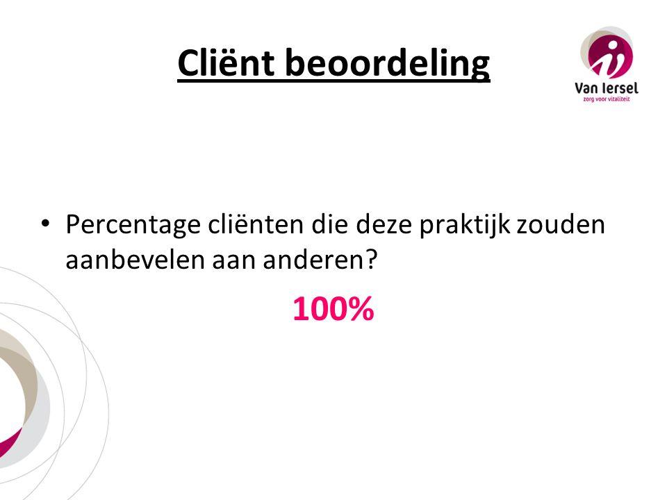 Cliënt beoordeling Percentage cliënten die deze praktijk zouden aanbevelen aan anderen? 100%