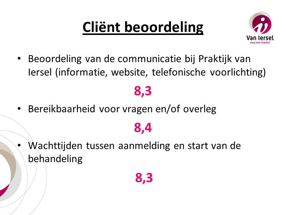 Cliënt beoordeling Beoordeling van de communicatie bij Praktijk van Iersel (informatie, website, telefonische voorlichting) 8,3 Bereikbaarheid voor vr