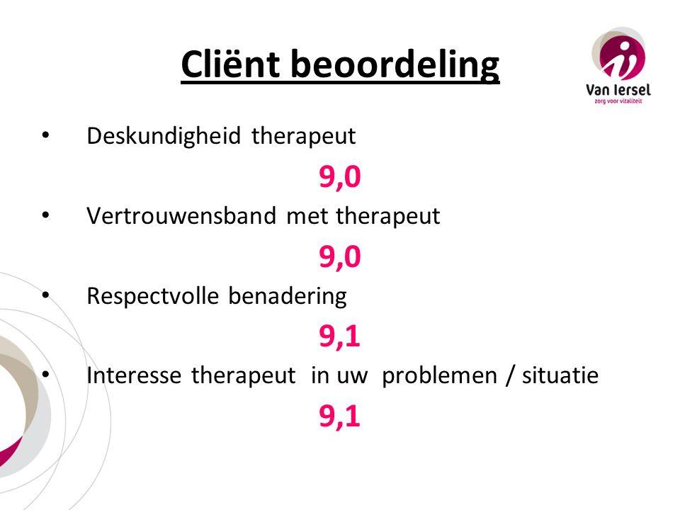 Cliënt beoordeling Deskundigheid therapeut 9,0 Vertrouwensband met therapeut 9,0 Respectvolle benadering 9,1 Interesse therapeut in uw problemen / situatie 9,1