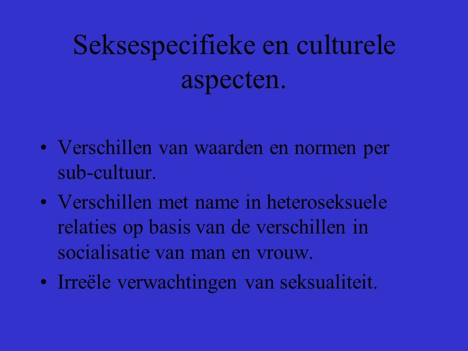 Seksespecifieke en culturele aspecten.Verschillen van waarden en normen per sub-cultuur.