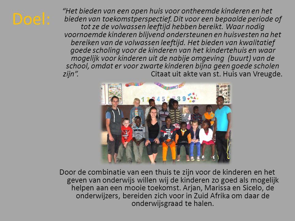 Doel: Het bieden van een open huis voor ontheemde kinderen en het bieden van toekomstperspectief.