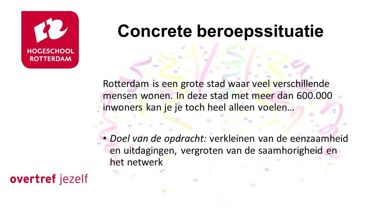 Concrete beroepssituatie Rotterdam is een grote stad waar veel verschillende mensen wonen.