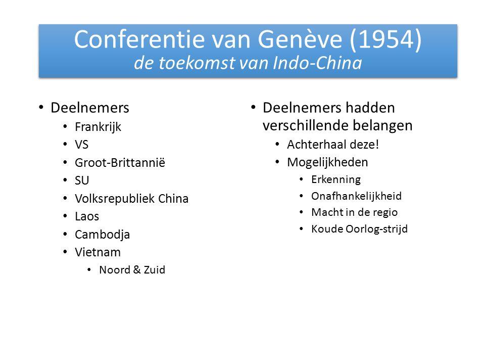 Deelnemers Frankrijk VS Groot-Brittannië SU Volksrepubliek China Laos Cambodja Vietnam Noord & Zuid Deelnemers hadden verschillende belangen Achterhaal deze.