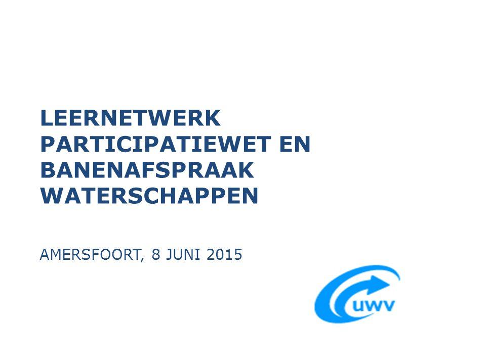 LEERNETWERK PARTICIPATIEWET EN BANENAFSPRAAK WATERSCHAPPEN AMERSFOORT, 8 JUNI 2015