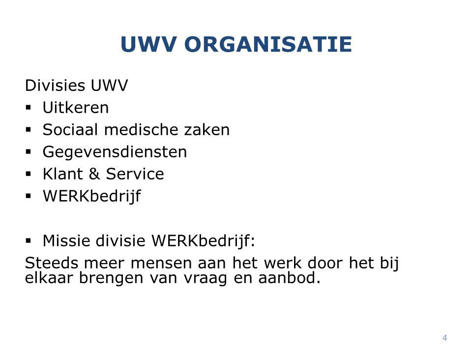 UWV ORGANISATIE Divisies UWV  Uitkeren  Sociaal medische zaken  Gegevensdiensten  Klant & Service  WERKbedrijf  Missie divisie WERKbedrijf: Stee