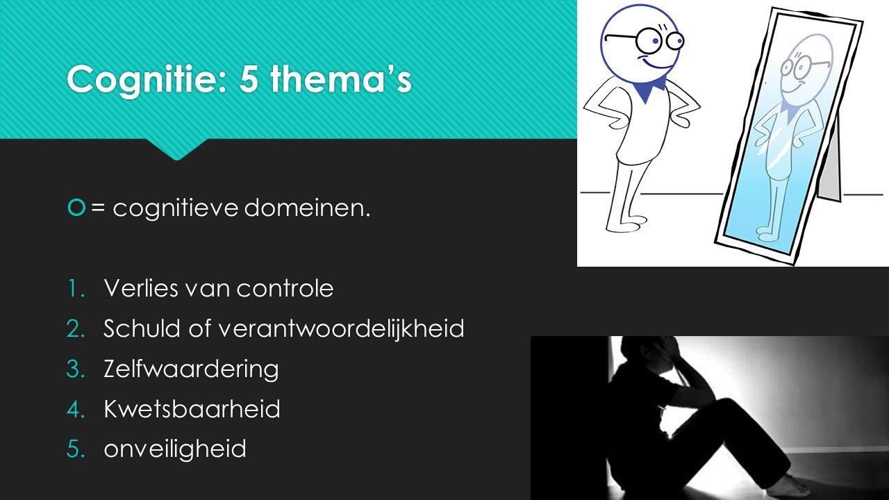 Cognitie: 5 thema's  = cognitieve domeinen.