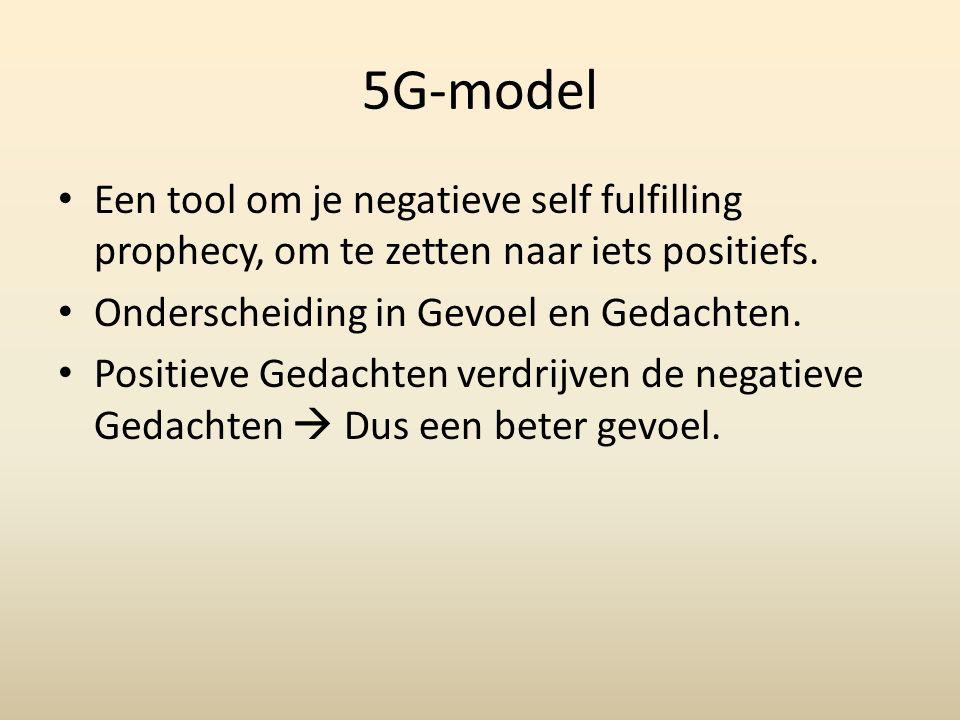 5G-model Een tool om je negatieve self fulfilling prophecy, om te zetten naar iets positiefs. Onderscheiding in Gevoel en Gedachten. Positieve Gedacht