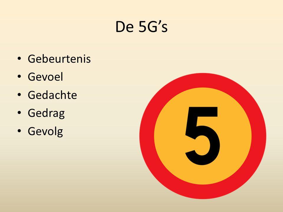 De 5G's Gebeurtenis Gevoel Gedachte Gedrag Gevolg