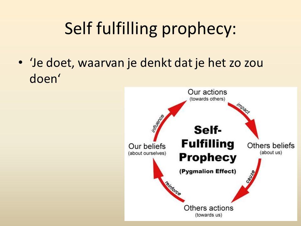 Self fulfilling prophecy: 'Je doet, waarvan je denkt dat je het zo zou doen'