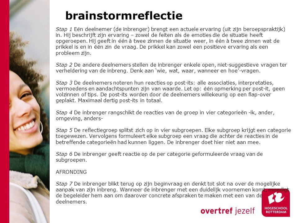 brainstormreflectie Stap 1 Eén deelnemer (de inbrenger) brengt een actuele ervaring (uit zijn beroepspraktijk) in.