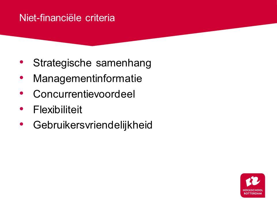 Niet-financiële criteria Strategische samenhang Managementinformatie Concurrentievoordeel Flexibiliteit Gebruikersvriendelijkheid