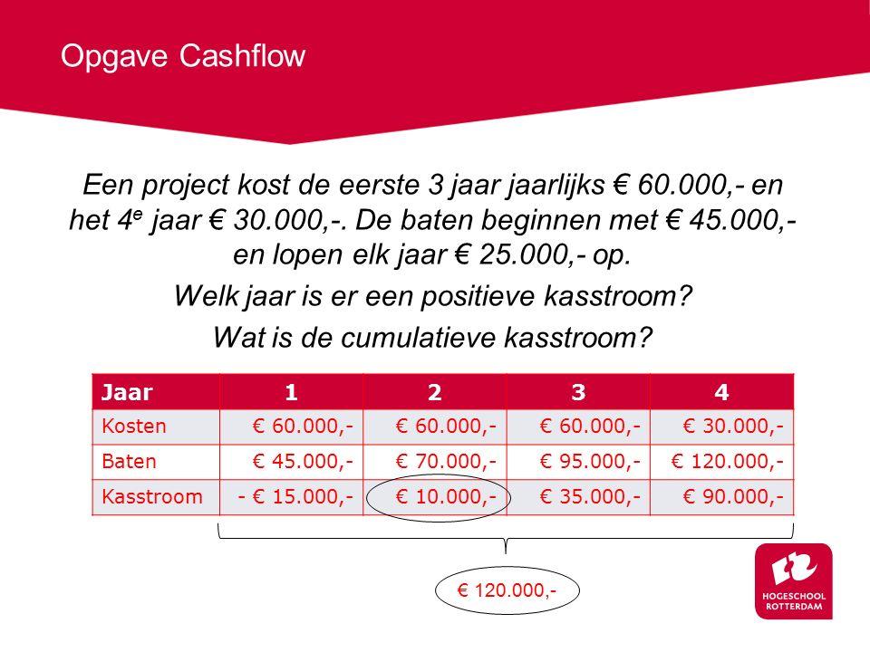 Opgave Cashflow Een project kost de eerste 3 jaar jaarlijks € 60.000,- en het 4 e jaar € 30.000,-.