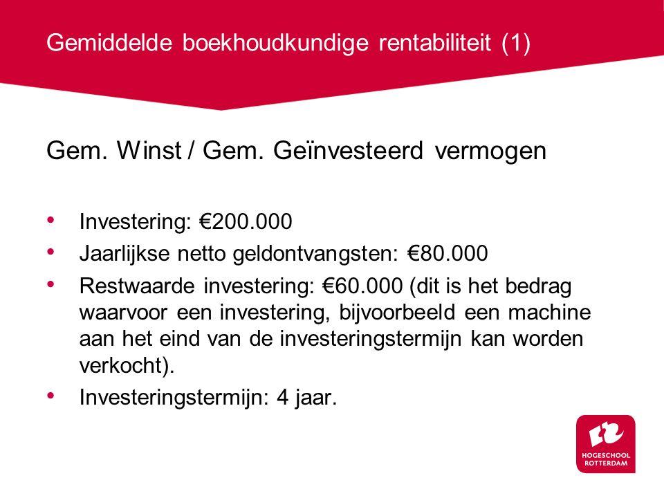 Gemiddelde boekhoudkundige rentabiliteit (1) Gem.Winst / Gem.