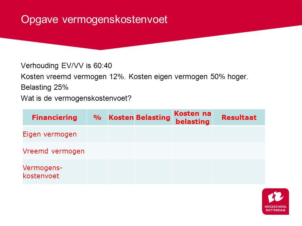 Opgave vermogenskostenvoet Verhouding EV/VV is 60:40 Kosten vreemd vermogen 12%. Kosten eigen vermogen 50% hoger. Belasting 25% Wat is de vermogenskos