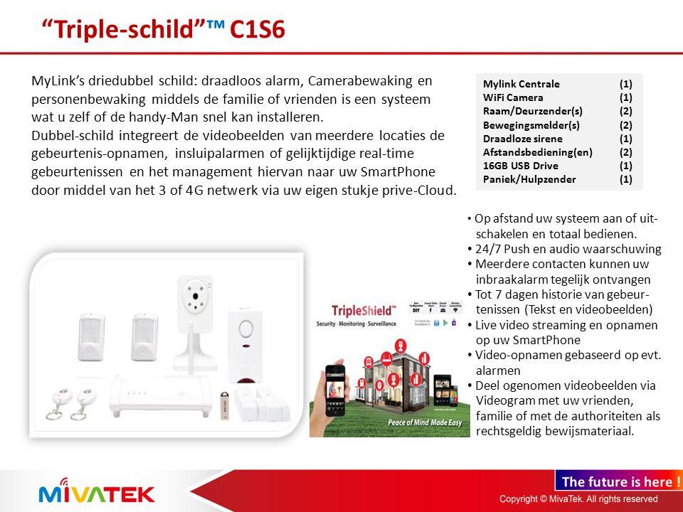 Alle mogelijkheden op rij in 1 systeem: 1.Woningbeveiliging – Keuze uit 6 typen zenders/sensors: Raam/Deurcontacten, bewegingsmelders, Paniek/hulp knoppen, garagedeur zenders, glasbreukmelders 2.Persoonlijke veiligheid en Home Automation – 2 zenders/sensors: Vuur en geluiddetector, Waterdetector (1) – Uw verlichting of wat u wilt, video geconytroleerd aan of uitschakelen van waar ook ter wereld.