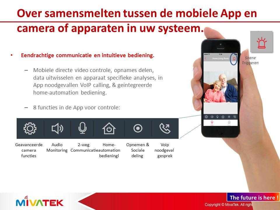 8 X in-App bedieningen en altijd samenwerkende communicatie In noodgeval kunt u telefonerenFilms opnemen en sociaal delenGeintegreerde Home automation