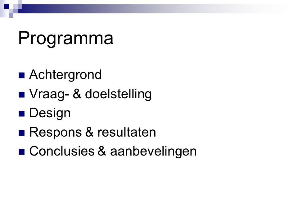Programma Achtergrond Vraag- & doelstelling Design Respons & resultaten Conclusies & aanbevelingen