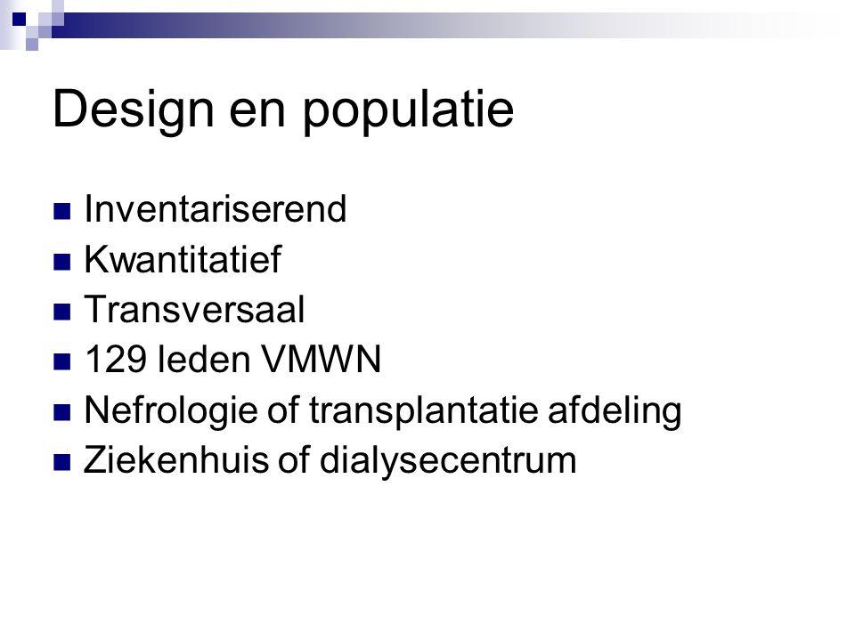 Design en populatie Inventariserend Kwantitatief Transversaal 129 leden VMWN Nefrologie of transplantatie afdeling Ziekenhuis of dialysecentrum