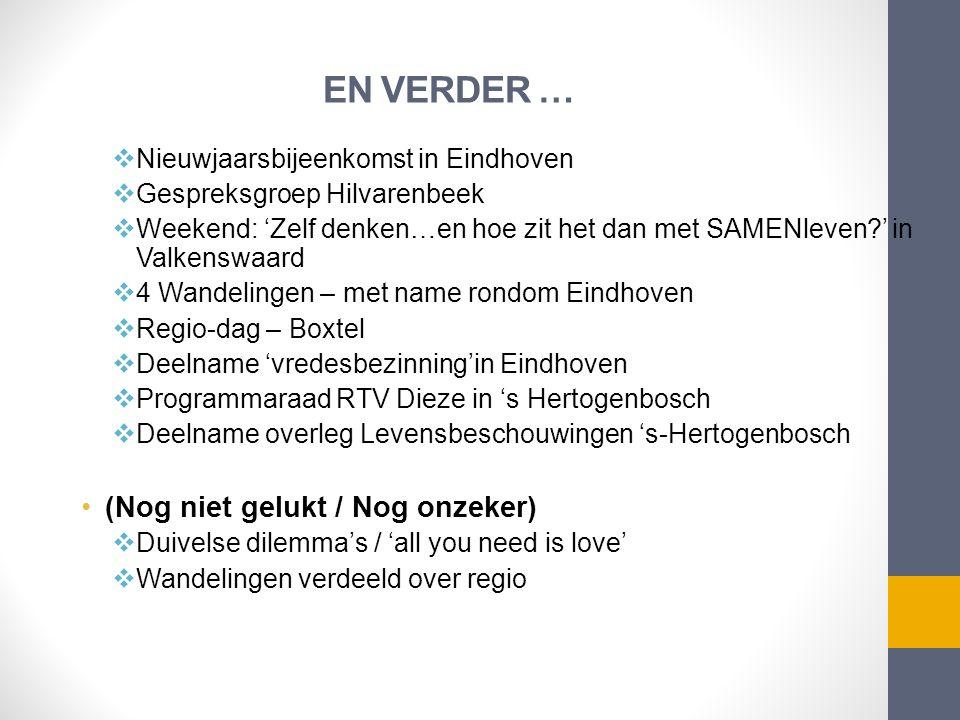 EN VERDER …  Nieuwjaarsbijeenkomst in Eindhoven  Gespreksgroep Hilvarenbeek  Weekend: 'Zelf denken…en hoe zit het dan met SAMENleven?' in Valkenswa