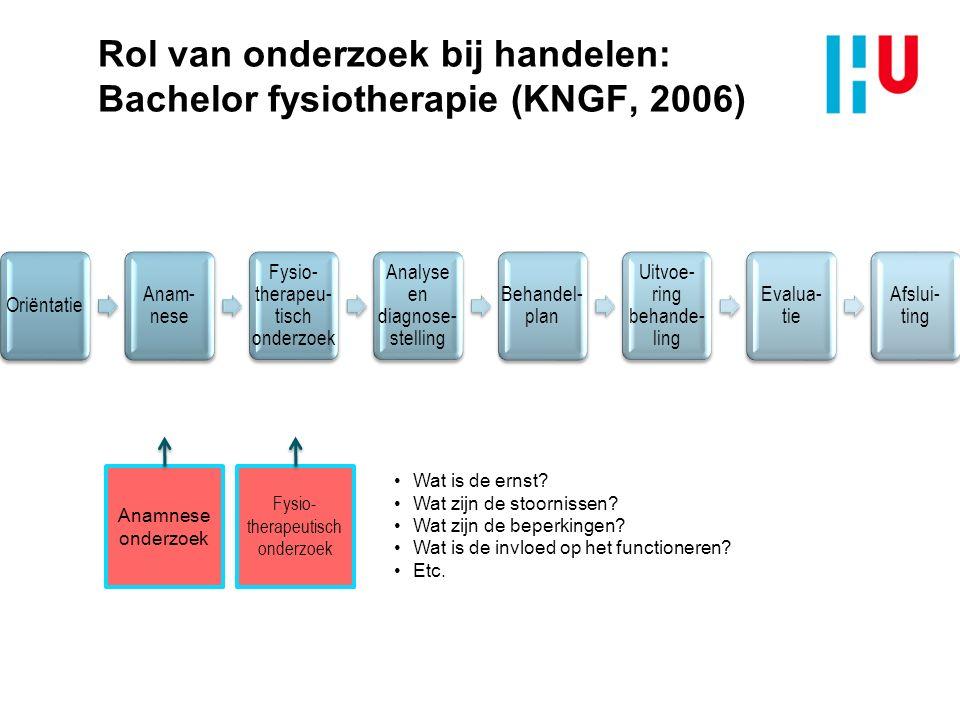 Rol van onderzoek bij handelen: Bachelor fysiotherapie (KNGF, 2006) Anamnese onderzoek Fysio- therapeutisch onderzoek Diagnostisch onderzoek Wat is het oordeel over het gezondheidsprofiel.