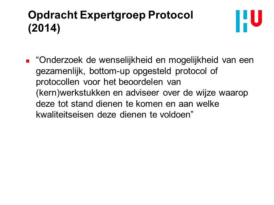 Opdracht Expertgroep Protocol (2014) n Onderzoek de wenselijkheid en mogelijkheid van een gezamenlijk, bottom-up opgesteld protocol of protocollen voor het beoordelen van (kern)werkstukken en adviseer over de wijze waarop deze tot stand dienen te komen en aan welke kwaliteitseisen deze dienen te voldoen