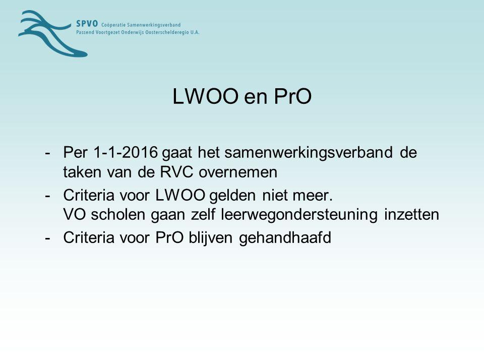 LWOO en PrO -Per 1-1-2016 gaat het samenwerkingsverband de taken van de RVC overnemen -Criteria voor LWOO gelden niet meer.