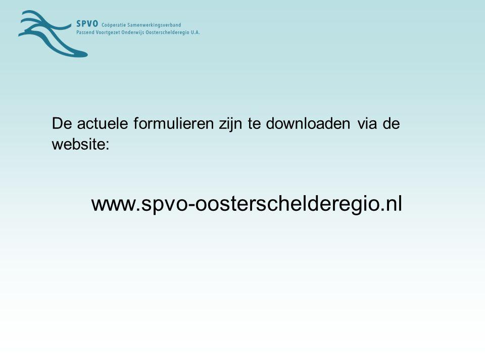 De actuele formulieren zijn te downloaden via de website: www.spvo-oosterschelderegio.nl