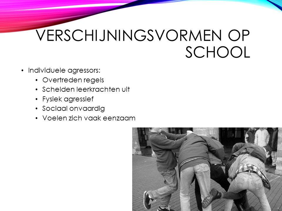 VERSCHIJNINGSVORMEN OP SCHOOL Individuele agressors: Overtreden regels Schelden leerkrachten uit Fysiek agressief Sociaal onvaardig Voelen zich vaak eenzaam