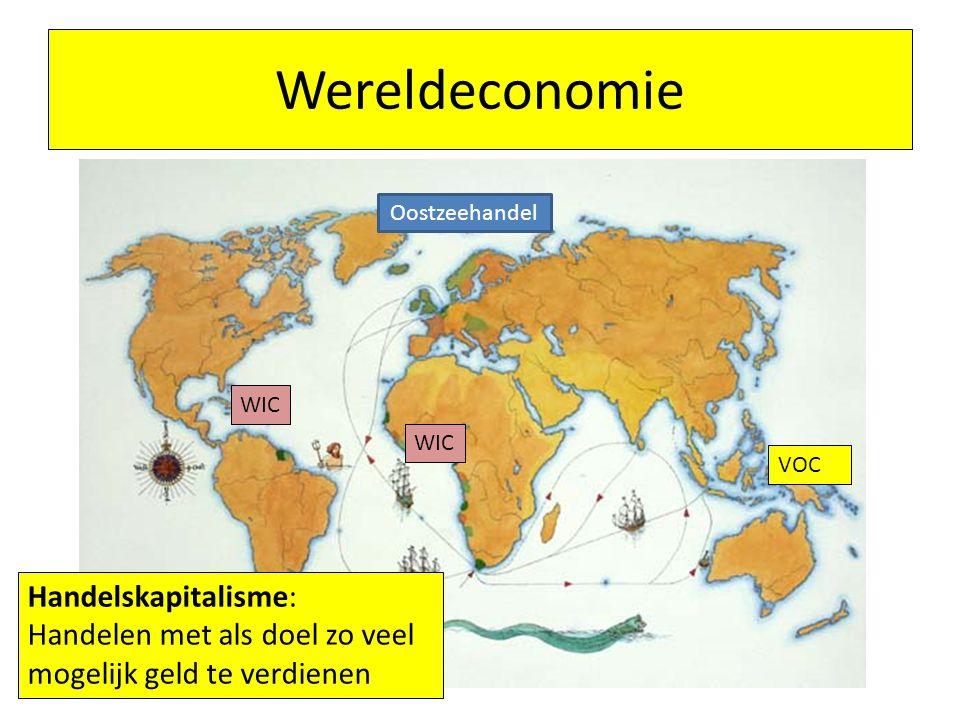 Wereldeconomie VOC WIC Oostzeehandel Handelskapitalisme: Handelen met als doel zo veel mogelijk geld te verdienen