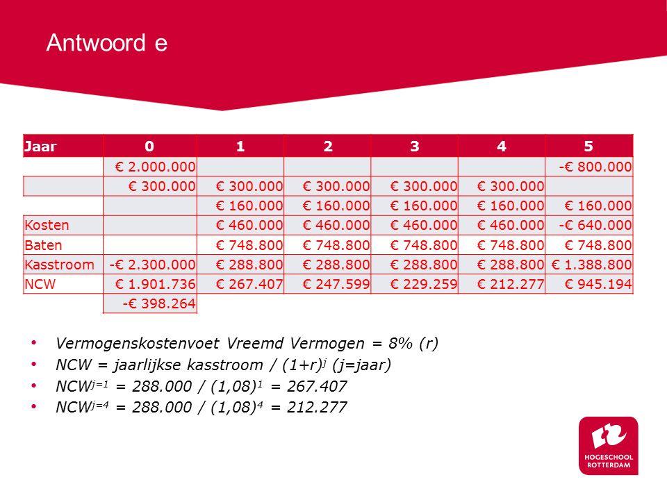Antwoord e Jaar012345 € 2.000.000 -€ 800.000 € 300.000 € 160.000 Kosten € 460.000 -€ 640.000 Baten € 748.800 Kasstroom-€ 2.300.000€ 288.800 € 1.388.800 NCW€ 1.901.736€ 267.407€ 247.599€ 229.259€ 212.277€ 945.194 -€ 398.264 Vermogenskostenvoet Vreemd Vermogen = 8% (r) NCW = jaarlijkse kasstroom / (1+r) j (j=jaar) NCW j=1 = 288.000 / (1,08) 1 = 267.407 NCW j=4 = 288.000 / (1,08) 4 = 212.277
