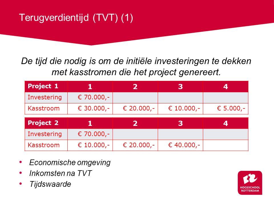 Terugverdientijd (TVT) (1) De tijd die nodig is om de initiële investeringen te dekken met kasstromen die het project genereert.