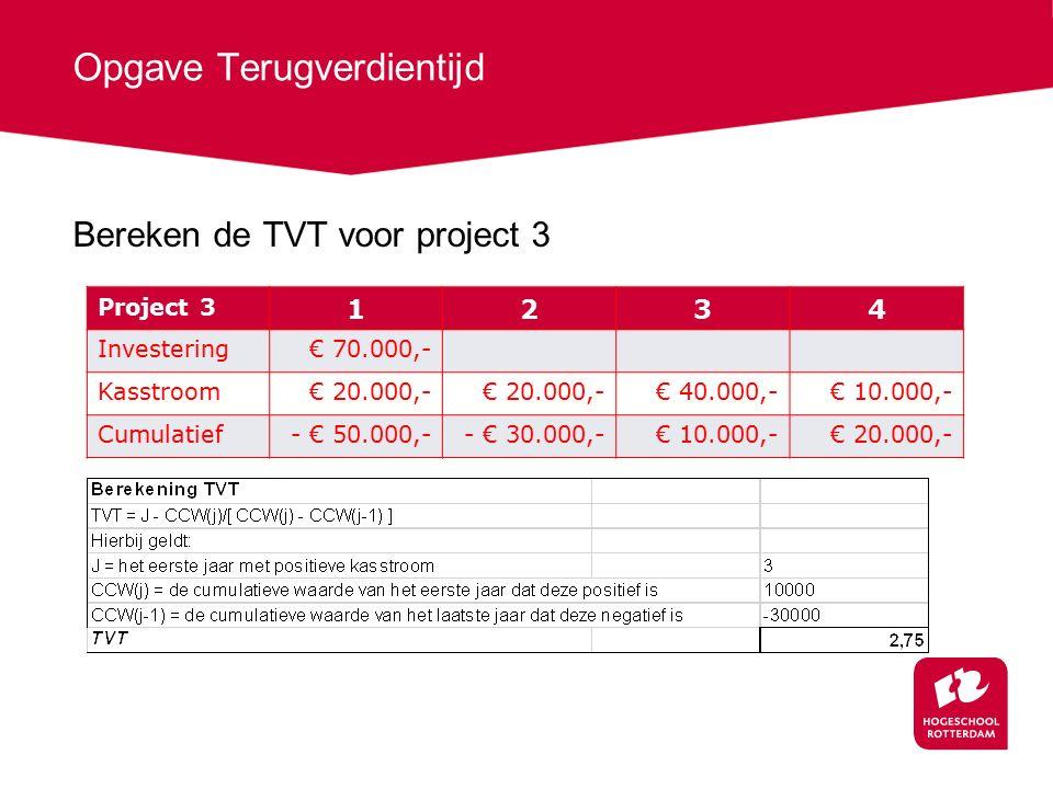 Opgave Terugverdientijd Bereken de TVT voor project 3 Project 3 1234 Investering€ 70.000,- Kasstroom€ 20.000,- € 40.000,-€ 10.000,- Cumulatief- € 50.000,-- € 30.000,-€ 10.000,-€ 20.000,-