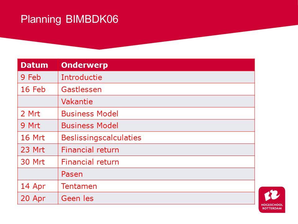 Planning BIMBDK06 DatumOnderwerp 9 FebIntroductie 16 FebGastlessen Vakantie 2 MrtBusiness Model 9 MrtBusiness Model 16 MrtBeslissingscalculaties 23 Mr
