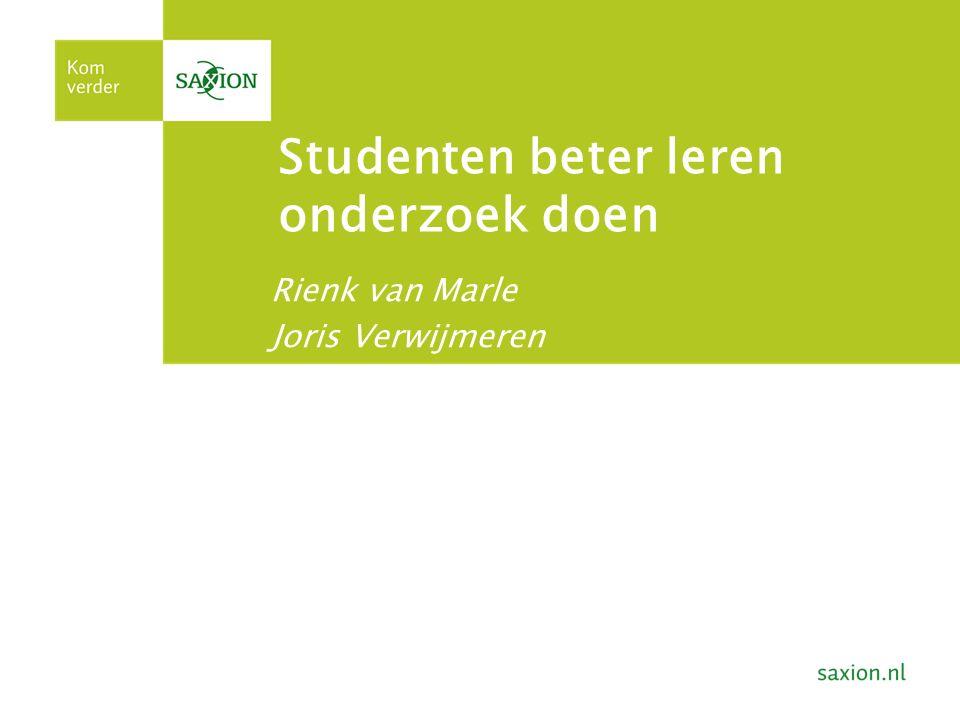 Studenten beter leren onderzoek doen Rienk van Marle Joris Verwijmeren