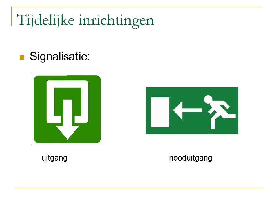 Tijdelijke inrichtingen Signalisatie: uitgang nooduitgang