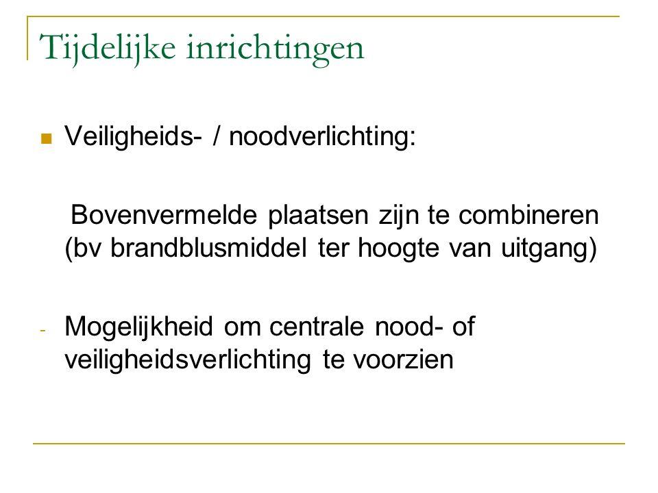 Tijdelijke inrichtingen Veiligheids- / noodverlichting: Bovenvermelde plaatsen zijn te combineren (bv brandblusmiddel ter hoogte van uitgang) - Mogeli
