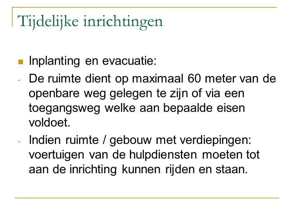 Tijdelijke inrichtingen Inplanting en evacuatie: - De ruimte dient op maximaal 60 meter van de openbare weg gelegen te zijn of via een toegangsweg wel
