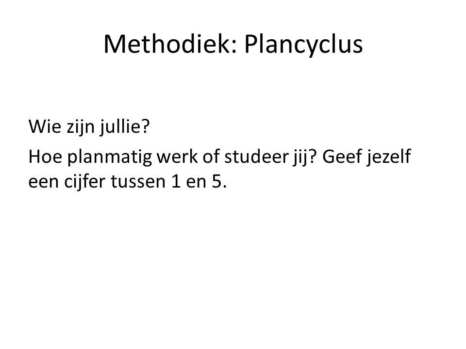 Methodiek: Plancyclus Wie zijn jullie? Hoe planmatig werk of studeer jij? Geef jezelf een cijfer tussen 1 en 5.