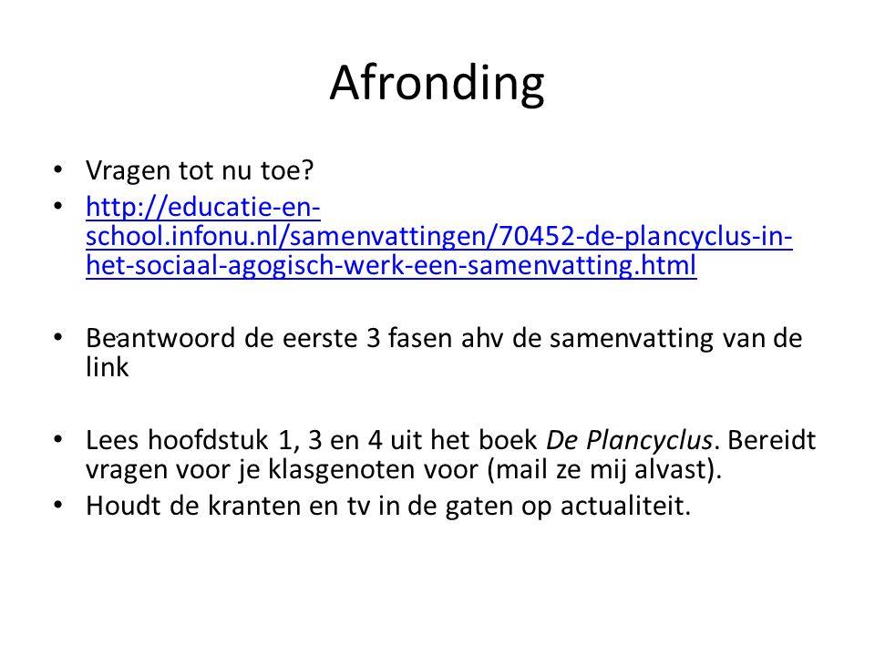 Afronding Vragen tot nu toe? http://educatie-en- school.infonu.nl/samenvattingen/70452-de-plancyclus-in- het-sociaal-agogisch-werk-een-samenvatting.ht