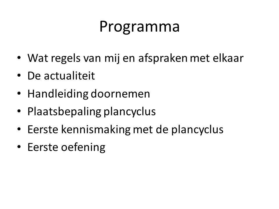 Programma Wat regels van mij en afspraken met elkaar De actualiteit Handleiding doornemen Plaatsbepaling plancyclus Eerste kennismaking met de plancyc