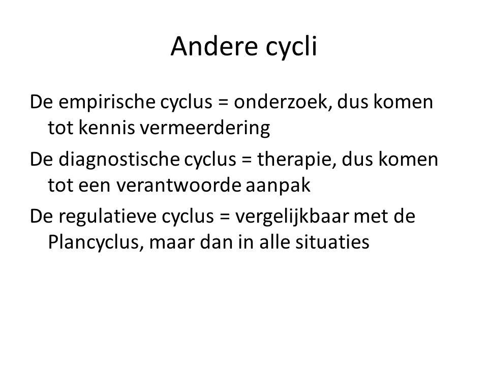 Andere cycli De empirische cyclus = onderzoek, dus komen tot kennis vermeerdering De diagnostische cyclus = therapie, dus komen tot een verantwoorde a