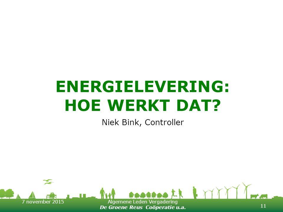 7 november 2015Algemene Leden Vergadering De Groene Reus Coöperatie u.a. ENERGIELEVERING: HOE WERKT DAT? Niek Bink, Controller 11